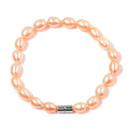 Fresh Water Peach Pearl Bracelet (Size 7.5) with Magnetic Lock 50.000 Ct.