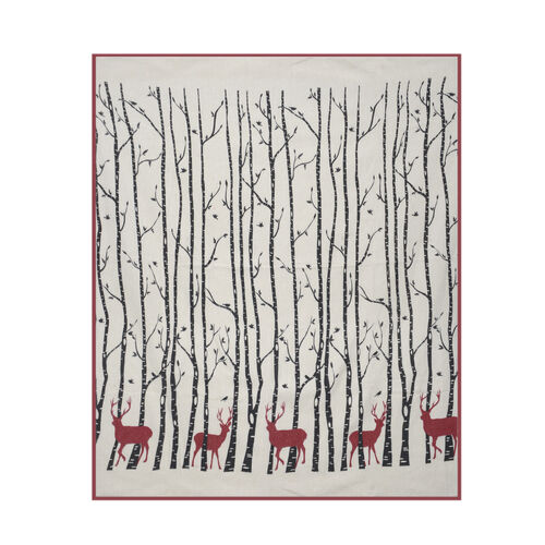 100% Cotton Red and Black Colour Reindeer, Tree and Birds Pattern White Colour Plaid (Size 150x120 Cm)