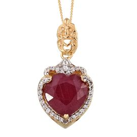 GP African Ruby (Hrt 5.90 Ct), Natural Cambodian Zircon and Kanchanaburi Blue Sapphire Pendant With Chain in 14K Gold Overlay Sterling Silver 6.500 Ct.