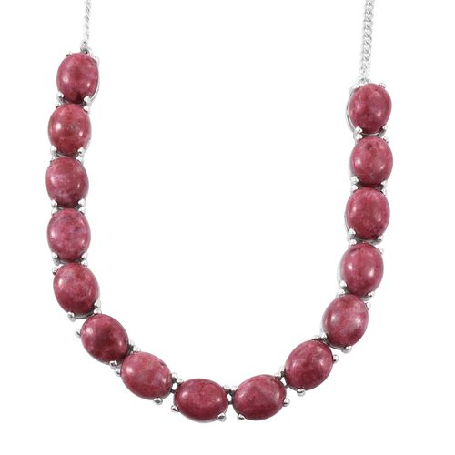 Norwegian Thulite (Ovl) Necklace (Size 18) in Platinum Overlay Sterling Silver 45.000 Ct.