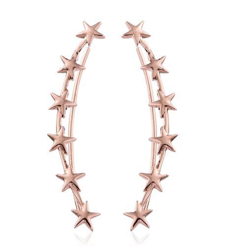Silver Little Star Ear Climber Earrings in Rose Gold Overlay, Silver wt 3.12 Gms.