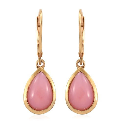 Natural Peruvian Pink Opal (Pear) Lever Back Earrings in 14K Gold Overlay Sterling Silver 5.250 Ct.