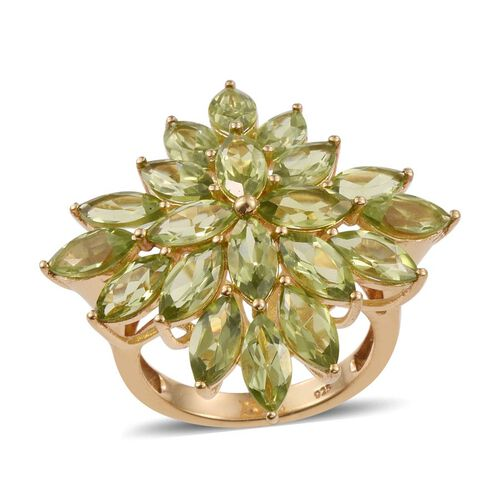 AA Hebei Peridot (Mrq) Floral Ring in 14K Gold Overlay Sterling Silver 11.750 Ct.