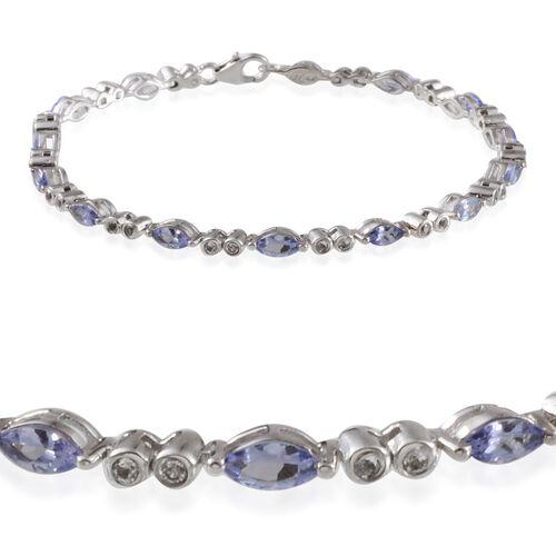 Tanzanite (Mrq), White Topaz Bracelet (Size 7.5) in Platinum Overlay Sterling Silver 4.000 Ct.