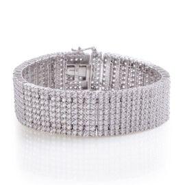 J Francis - Platinum Overlay Sterling Silver (Rnd) Bracelet Made with SWAROVSKI ZIRCONIA (Size 8) 21.600 Ct.