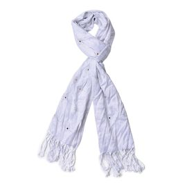 White Colour AAA White Austrian Crystal Studded Checks Pattern Scarf with Tassels (Size 165x58 Cm)