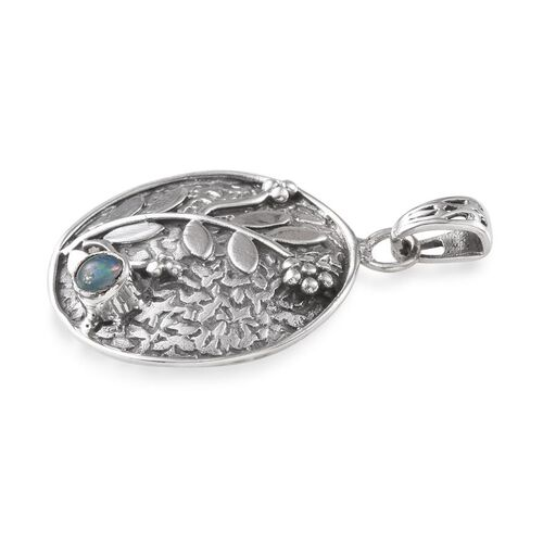 Ethiopian Welo Opal (Rnd) Floral and Leaves Pendant in Sterling Silver