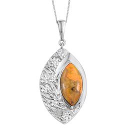 Bumble Bee Jasper (Mrq) Solitaire Pendant With Chain in Platinum Overlay Sterling Silver 6.250 Ct.