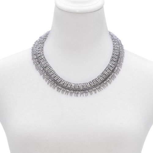 (Option 3) White Austrian Crystal Necklace (Size 18 with 2 inch Extender) in Silver Tone
