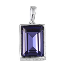 Crystal from Swarovski - Tanzanite Colour Crystal (Bgt) Solitaire Pendant in Sterling Silver 6.500 Ct.