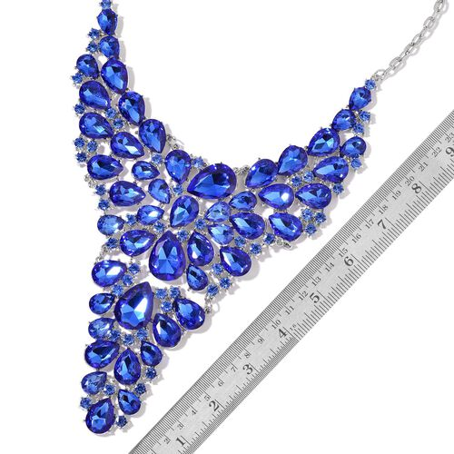AAA Simulated Blue Sapphire BIB Necklace (Size 18 with 1 inch Extender) in Silver Tone
