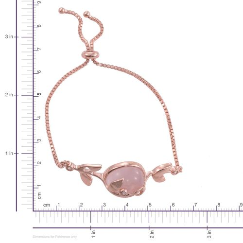 Kimberley Rose Quartz (Rnd), Natural Cambodian Zircon Adjustable Bracelet (Size 6.5 to 9) in Rose Gold Overlay Sterling Silver 14.500 Ct.