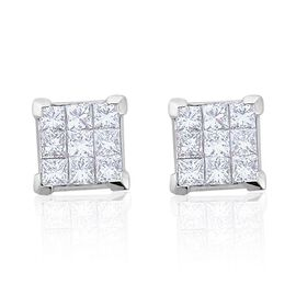 RHAPSODY 950 Platinum IGI Certified Princess Diamond VVS-VS/F Invisible Set 1 Carat Stud Earrings with Screw Back.