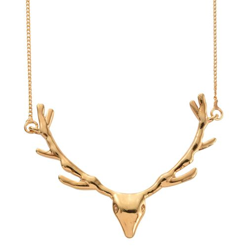 Stag Head Silver Necklace in Gold Overlay (Size 18), Silver wt 4.30 Gms.