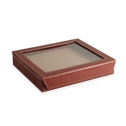 Hand Crafted - Eco Leatherette Chocolate Colour 100 Slot Ring Box with Magnetic Closure (Size 24x22x4 Cm)