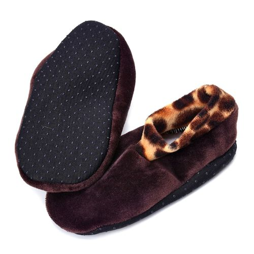 Set of 3 -  Black and Brown Dotted Print 100% Polyester Fleece Sherpa Set  Bootie Socks (Size one for all)