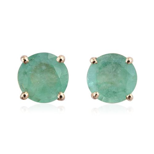 9K Y Gold Kagem Zambian Emerald (Rnd) Stud Earrings (with Push Back) 1.000 Ct.
