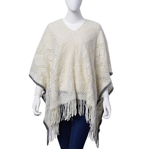 Cream and Grey Colour Diamond and Floral Pattern Poncho (Size 90x60 Cm)