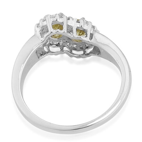 Limited Available Canary Tourmaline (0.57 Ct)White Topaz Platinum Overlay Sterling Silver Ring  0.820  Ct.