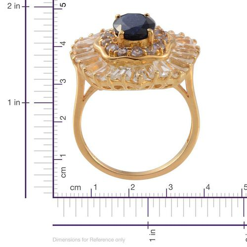 Kanchanaburi Blue Sapphire (Ovl 2.00 Ct), Tanzanite and White Topaz Ring in 14K Gold Overlay Sterling Silver 6.160 Ct.