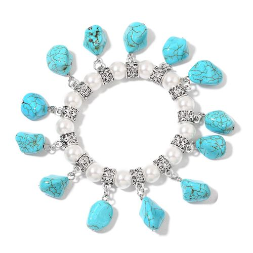 Set of 2 - Blue Howlite and Simulated White Pearl Seahorse and Multi Charm Stretchable Bracelet (Size 7.5) in Silver Tone 335.00 Ct.