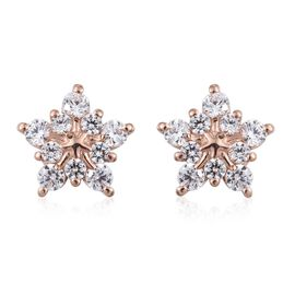 J Francis - Rose Gold Overlay Sterling Silver (Rnd) Snowflake Stud Earrings (with Push Back) Made with SWAROVSKI ZIRCONIA