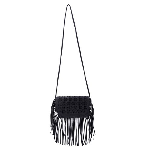 Laser Cut Floral Pattern Black Colour Crossbody Bag with Fringes (Size 19.5x17 Cm)