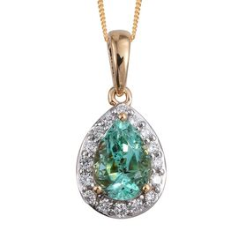 ILIANA 18K Yellow Gold 1.50 Carat Boyaca Colombian Emerald Pear Halo Pendant with Chain, Diamond SI G-H.