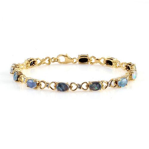 Boulder Opal Triplet 14K Gold Overlay Sterling Silver Bracelet (Size 7.5)  5.750  Ct.