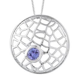 Tanzanite (Rnd) Pendant With Chain in Platinum Overlay Sterling Silver 0.500 Ct.