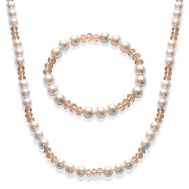 Champagne Glass and White Shell Pearl Necklace (Size 28) and Bracelet (Size 7.50)