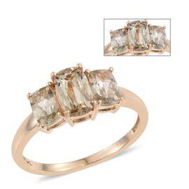14K Y Gold Natural Turkizite (Cush 1.00 Ct) 3 Stone Ring 2.250 Ct.