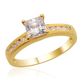 J Francis - 14K Gold Overlay Sterling Silver (Sqr) Ring Made with SWAROVSKI ZIRCONIA 1.540 Ct.