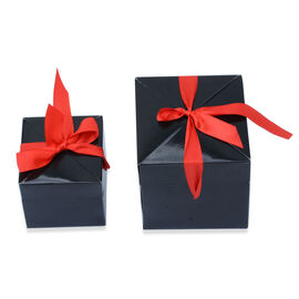 Set of 10 - Black Paper Gift Box with Red Ribbon (Small 3x3 and Large 4x4),