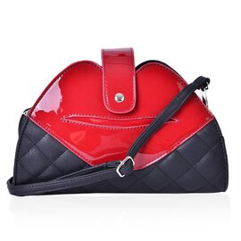 Red and Black Colour Lip Design Crossbody Bag with Adjustable and Removable Shoulder Strap (Size 26x18x7 Cm)