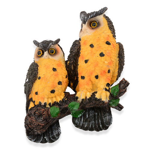 Home Decor - Yellow and Black Colour Two Owl On Tree Branch Wall Hanging with Resin