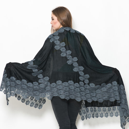 (50% Mulberry Silk and 50% Merino Wool) Black Colour Scarf with Grey Nylon Floral Lace Border (Size 170x75 Cm)