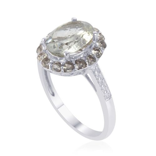 Green Sillimanite (Ovl 2.50 Ct), White Topaz Ring in Platinum Overlay Sterling Silver 3.000 Ct.