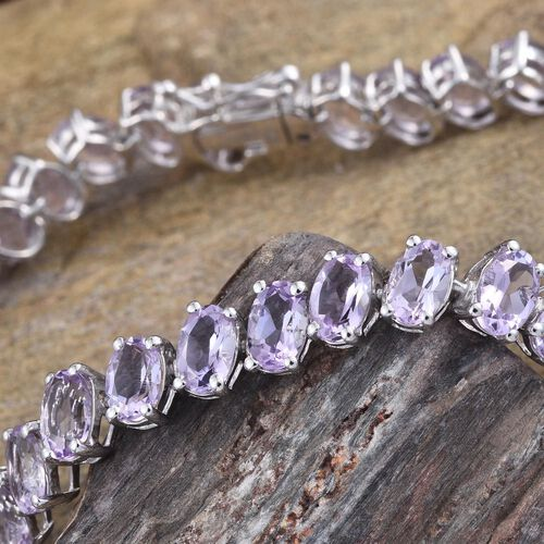 Rose De France Amethyst (Ovl) Bracelet (Size 7.5) in Platinum Overlay Sterling Silver 15.000 Ct.