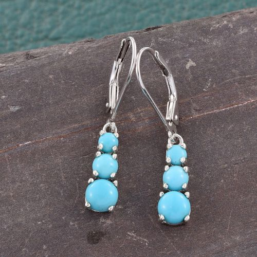 Arizona Sleeping Beauty Turquoise (Rnd) Lever Back Earrings in Platinum Overlay Sterling Silver 1.500 Ct.