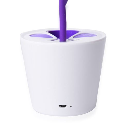 Purple and White Colour Small Plant Shape Adjustable LED Lamp with Pen Holder