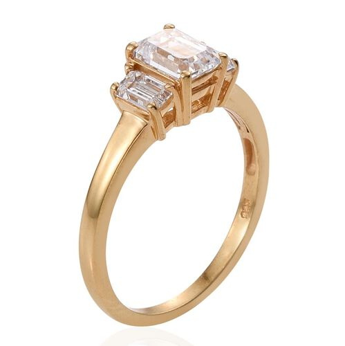 J Francis - 14K Gold Overlay Sterling Silver (Oct) 3 Stone Ring Made with SWAROVSKI ZIRCONIA