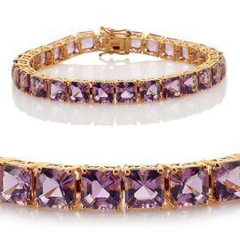 Amethyst Bracelet in 14K Gold Overlay Sterling Silver (Size 8) 35.000 Ct.