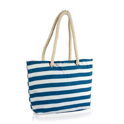 100% Cotton Blue and White Colour Stripe Printed Kaftan (Free Size), Bag (Size 50x40 Cm) and Flip Flops