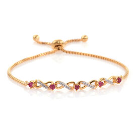 African Ruby (Rnd) Adjustable Infinity Bracelet (Size 6.5 to 9.5) in ION Plated 18K Gold Bond.