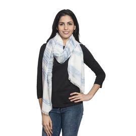 90% Cotton Blue and Black Colour Ornamental Pattern White Colour Jacquard Scarf (Size 180x70 Cm)