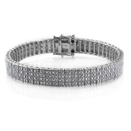 Diamond (Rnd) Bracelet (Size 7.5) in Platinum Overlay Sterling Silver 1.000 Ct. Silver Wt 24.00 Gms