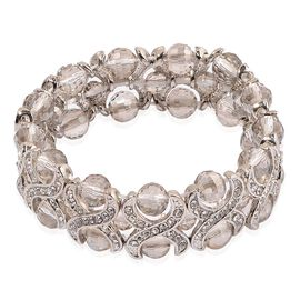 Simulated Grey Moonstone and White Austrian Crystal Stretchable Bracelet (Size 7.5) in Silver Tone