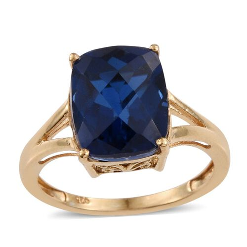 Checkerboard Cut Ceylon Colour Quartz (Cush) Solitaire Ring in 14K Gold Overlay Sterling Silver 6.500 Ct.