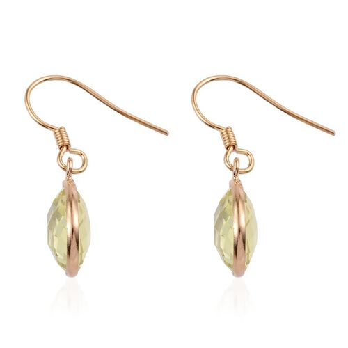 Natural Ouro Verde Quartz (Pear) Hook Earrings in 14K Gold Overlay Sterling Silver 9.000 Ct.